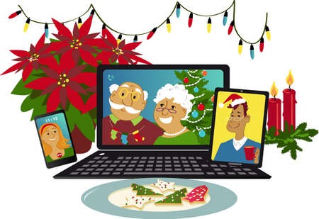 Online Christmas celebration with family members communicating via video chat from different gadgets