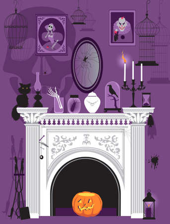 Victorian interior with a fireplace decorated with spooky and creepy objects and portraits