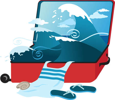 Open suitcase with an ocean inside and vacation at the beach items falling out, EPS 8 vector illustration Illustration