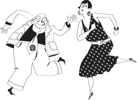 Cute senior couple dancing the Charleston, EPS 8 vector illustration, no white objects