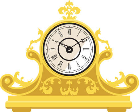 Antique golden mantel clock in French style, not a real product, artist' representation. EPS 8 vector illustration