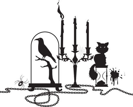 Halloween theme header design with a black cat, candles, taxidermy and candles, EPS 8 vector illustration, no white object