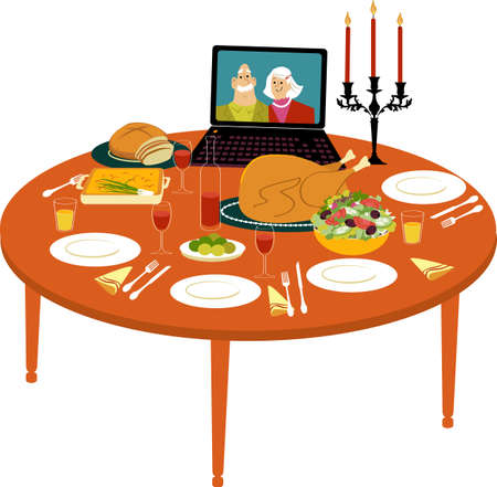 Holiday turkey dinner on the table with a laptop streaming video chat with faraway relatives, EPS 8 vector illustration