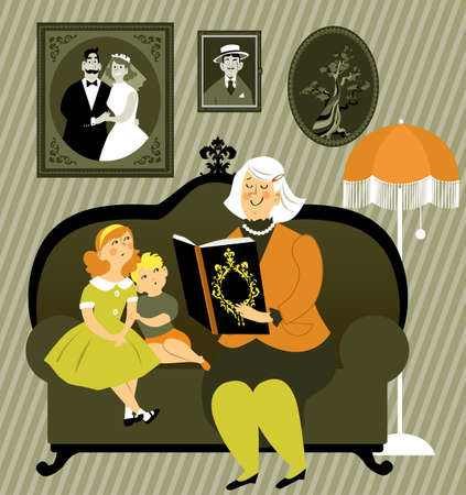 Grandmother reading a story book to little boy and girl, sitting on a sofa in an old-fashioned room, EPS 8 vector illustration