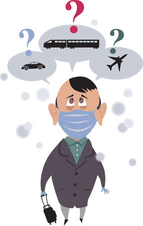 Concerned traveler in safety face mask choosing between a car, a train and a plane as a safest mean of transportation during pandemic, EPS8 vector illustration