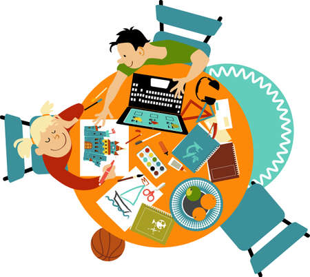 Boy and girl doing school work and drawing at home behind a dinner table, view from the top, EPS 8 vector illustration Illustration