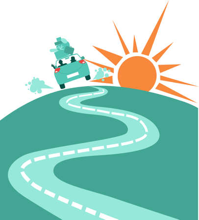 Couple in a loaded car driving away to the sunrise,  relocating, EPS 8 vector illustration