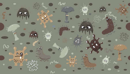 Background with cartoon germs, viruses, bacteria and amoebas, seamless repetition, EPS 8 vector illustration, no transparencies