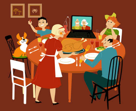Family having a holiday turkey dinner with grandparents participating via video chat on the computer, EPS 8 vector illustration Illustration