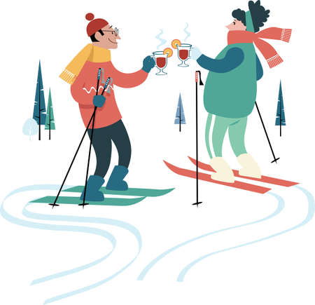 Man and woman drinking hot mulled wine while skiing in winter, EPS 8 vector illustration