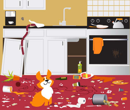 Funny cute corgi dog sitting in a messy kitchen that he destroyed while owners were away, EPS 8 vector illustration