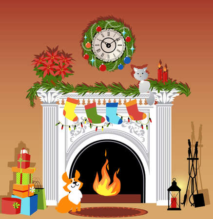 Lit fireplace decorated for winter holidays, cat and dog and a pile of presents, EPS 8 vector illustration, no transparencies