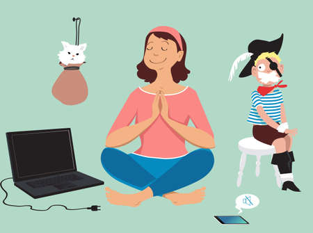 Woman peacefully meditating after unplugging her devices and silencing her kid and a pet, EPS 8 vector illustration