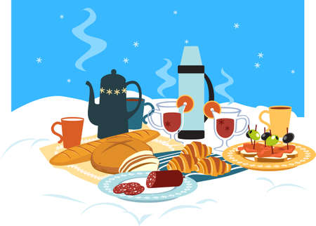 Winter picnic served on the snow with hot beverages and snacks, EPS 8 vector illustration, no transparencies Illustration