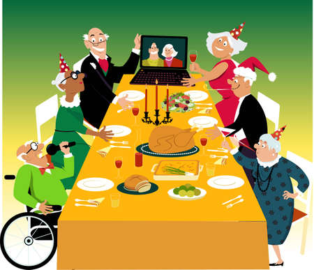 Small group of a retirement home residents having a turkey holiday dinner with their friends joining them via video chat,  EPS 8 vector illustration