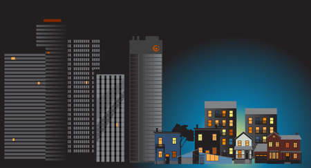 Office buildings downtown stay dark while suburban houses illuminated and full of people due the working from home trend, EPS 8 vector illustration Illustration