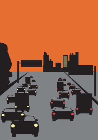 Highway traffic with commuters cars going in and out of the city in the dusk, EPS 8 vector illustration