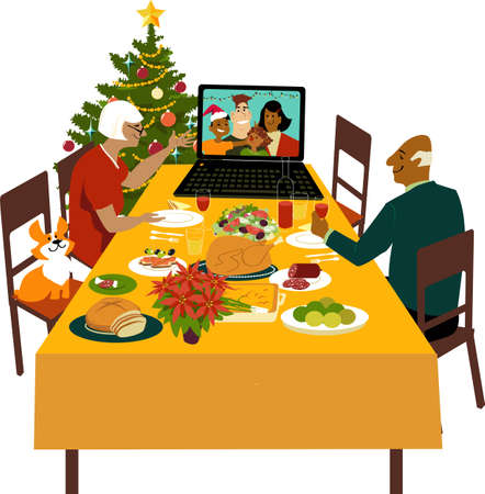 Senior couple celebrating Christmas with their children and grandchildren joining them via video chat, EPS 8 vector illustration 矢量图像