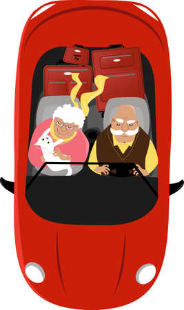 Elderly couple driving a convertible car with their pet and luggage, view from top, EPS 8 vector illustration Ilustracja