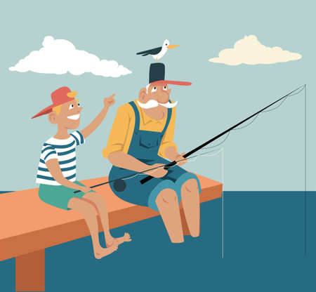Elderly man fishing with his grandson, a seagull landed on his hat, EPS 8 vector illustration