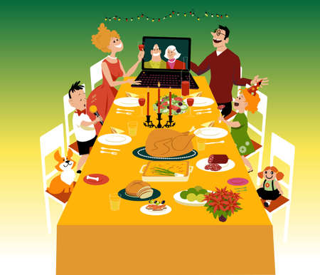Family having a holiday dinner with grandparents participating via video chat on the computer, EPS 8 vector illustration