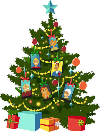 Christmas tree decorated with smartphone with family members online in video chat, EPS 8 vector illustration 矢量图像