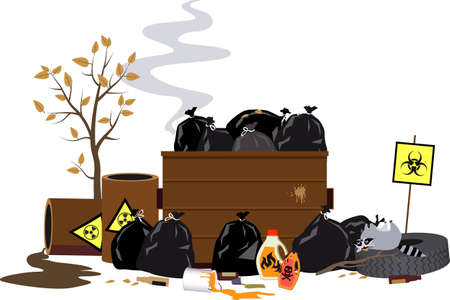 Dumpster filled with toxic and dangerous waste, EPS 8 vector illustration