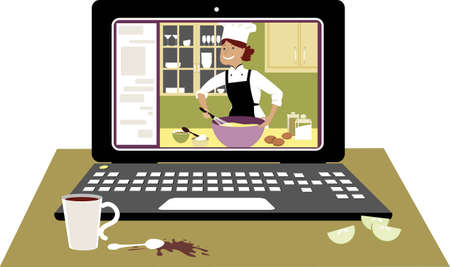 Laptop with an internet chef giving cooking workshop online, EPS 8 vector illustration