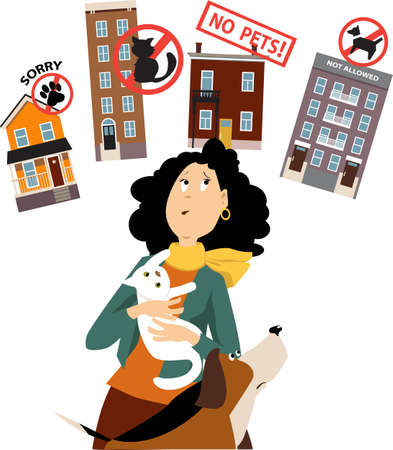 Woman with a cat and a dog having difficulties to find a pet-friendly rental, EPS 8 vector illustration