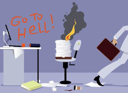Disgruntled employee quitting his job, trashing the office and burning bridges, EPS 8 vector illustration