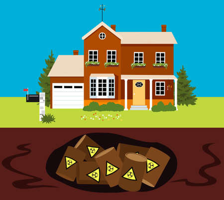 Family home built on contaminated land with hazardous waste buried underneath, EPS 8 vector illustration