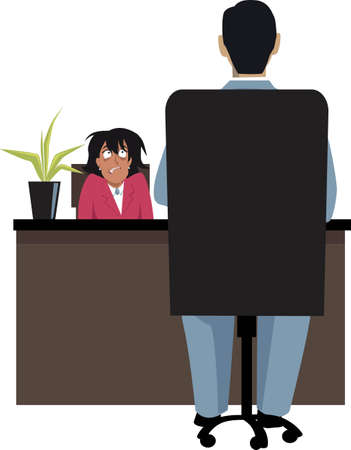 Stressed person fighting  anxiety during job interview, EPS 8 vector illustration