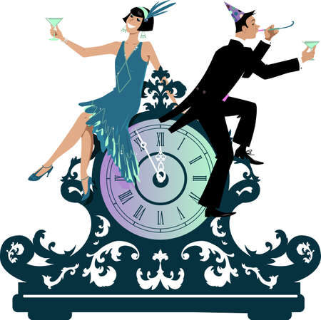 Couple dressed in 1920s fashion sitting on a vintage clock celebrating a new year,  vector illustration