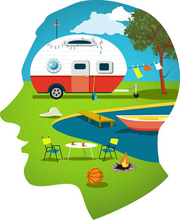 Male profile with a travel scene, camper trailer near the lake and a boat, vector illustration