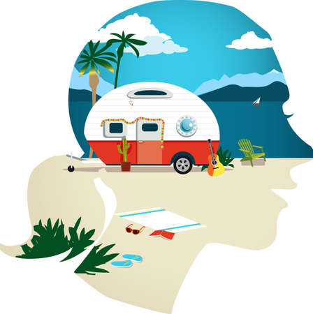 Female profile with a travel scene, camper trailer on a beach at the sea side,  vector illustration