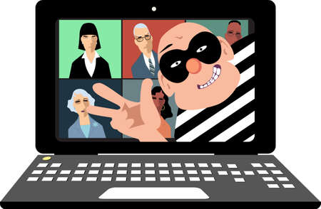 Hacker interrupts a business video conference on a laptop, vector illustration