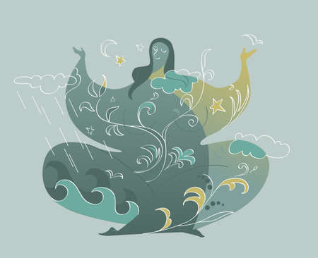 Female character sitting in a meditative pose, ornamental nature designs connecting her with the environment, EPS 8 vector illustration, no transparencies