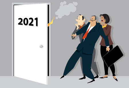 Worried and terrified business people looking at a opening door with 2021 on it, symbolizing the beginning of a new troubling year, vector illustration