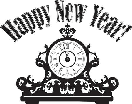 Black vector illustration of an ornate vintage clock with happy new year text over, EPS 8, no white objects