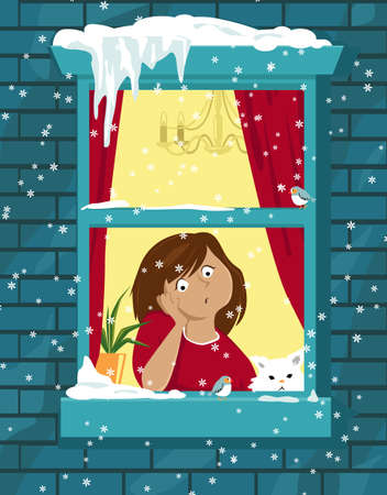 Sad bored girl sitting at home and looking in the window in snowy winter day,   vector illustration 矢量图像