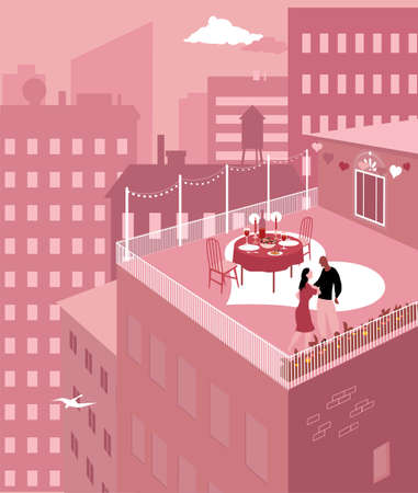 Couple having a romantic Valentine day dinner on a rooftop terrace in the city,   vector illustration