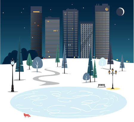 City park skating ring at night with urban skyline and a fox,  vector illustration