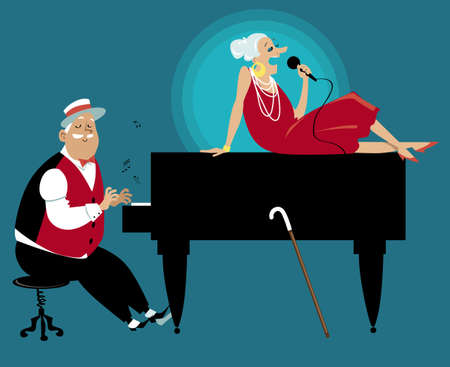 Senior couple performing on stage, playing piano and singing,   vector illustration 矢量图像