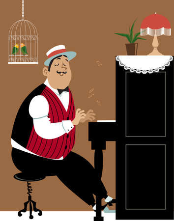Men dressed in retro fashion playing on a piano in vintage interior,  vector illustration