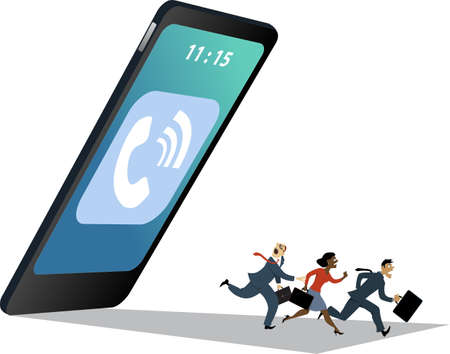 Gigantic smartphone with a call symbol falling down on a group of running business people, vector illustration