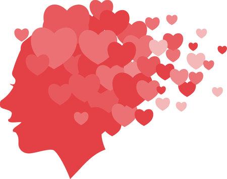 Happy female profile dispersing into heart symbols