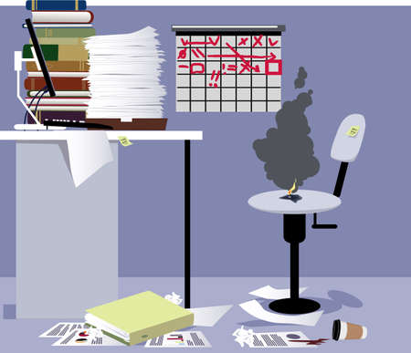 Empty workaholic's work station in an office, burned spot on a chair as a metaphor for a burnout at work, EPS 8 vector illustration
