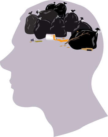 Male profile, garbage bags in the place of a brain, EPS 8 vector illustration 矢量图像