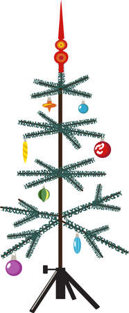Old-fashioned artificial Christmas tree decorated with glass ornaments, isolated on white, EPS 8 vector illustration 矢量图像