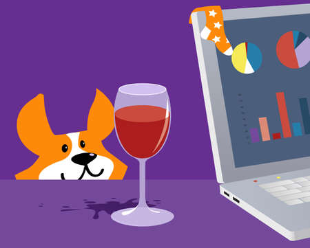 Working from home station with a glass of wine a corner of a laptop with a toddler's sock on it and a pet lurking on the background, EPS 8 vector illustration